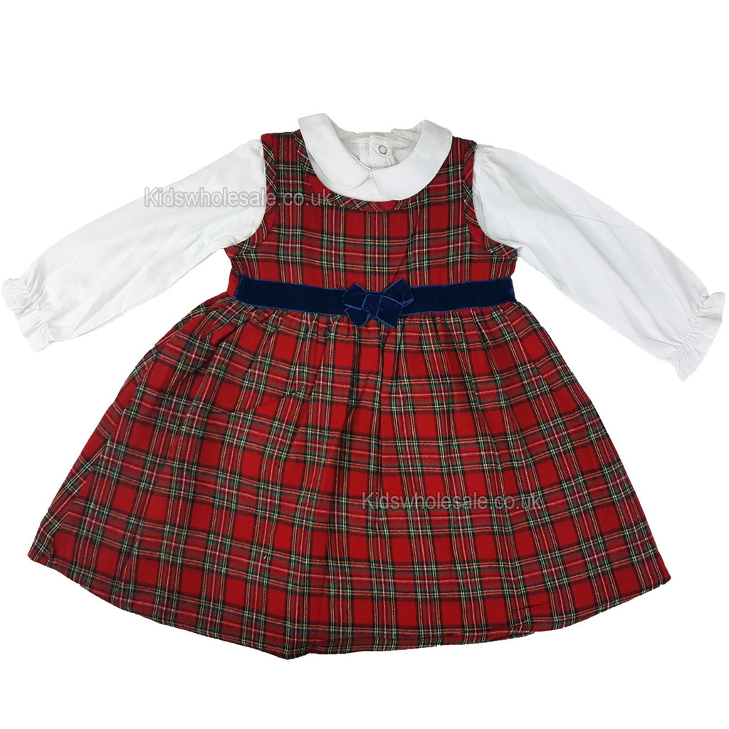 Girls Tartan Lined Pinafore Dress - Red - 3-24 Months (N15705)