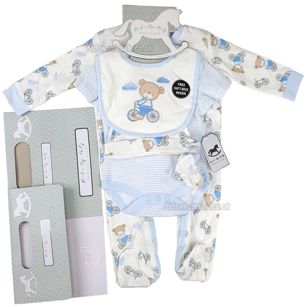 Baby Boys 6Pc Net Bag Gift Set - Teddy - NB-6 Months (N15912)
