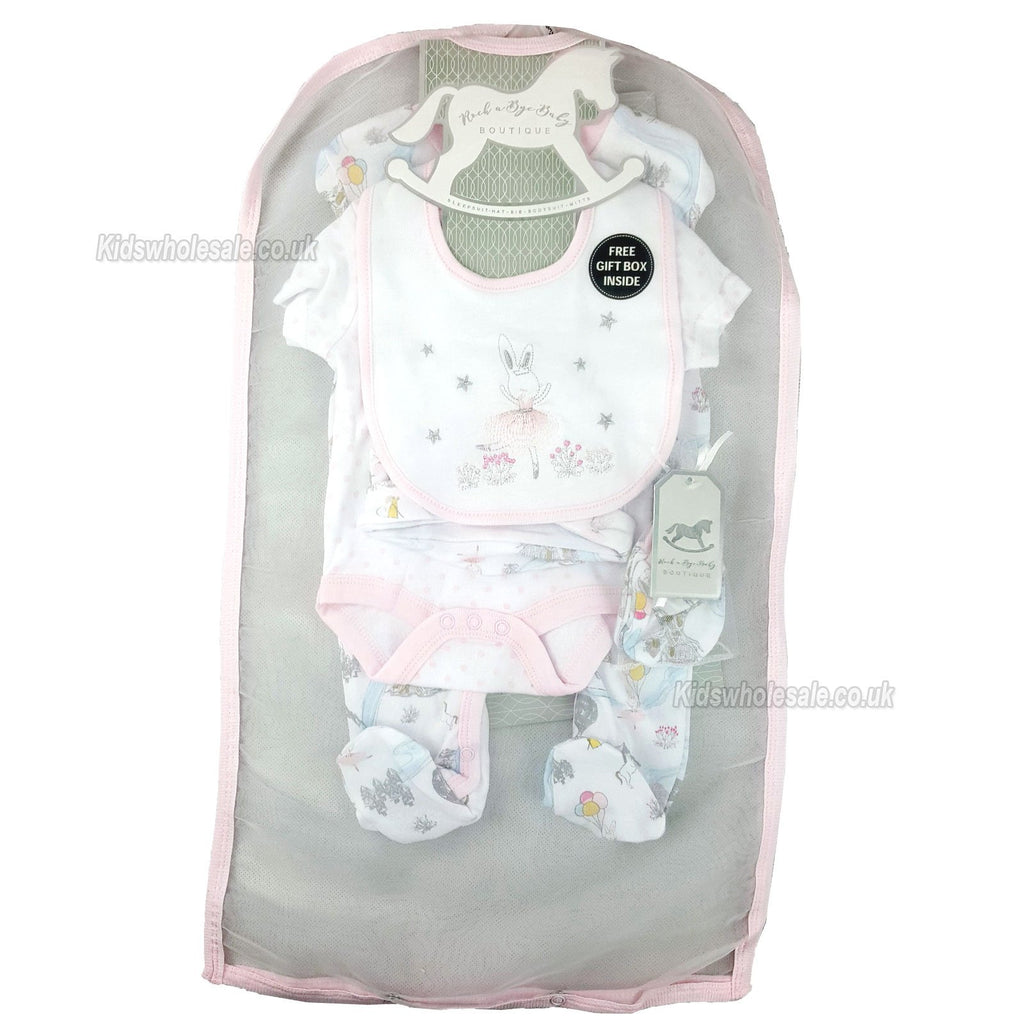 Baby Girls 6Pc Net Bag Gift Set - Bunny Ballerina - NB-6 Months (N15950)