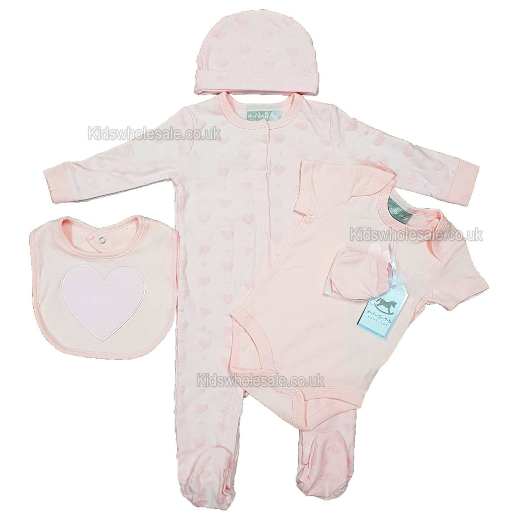 Baby 5pc Velour Gift Set - Hearts- NB-6 Months (P16111)