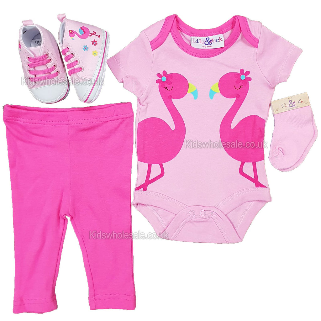 NEW Baby Girls 4pc Trourser Set W/Shoes - Flamingo - 0/12M - (P16134)