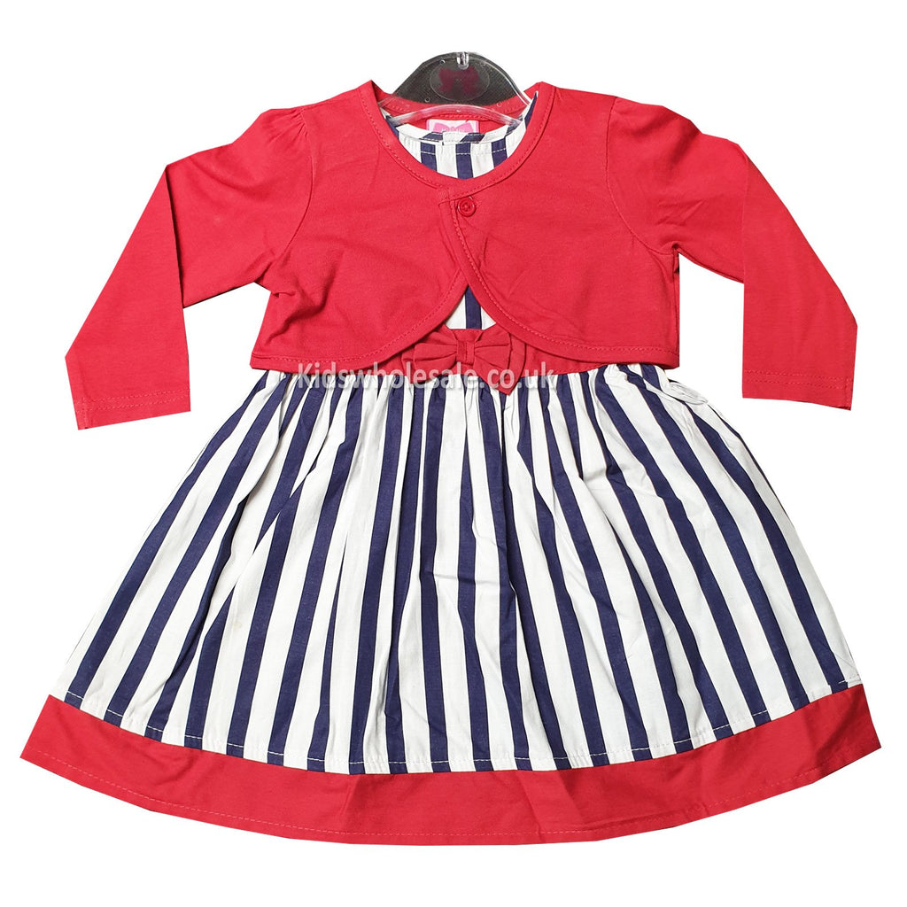 88d7f9e86 Girls Striped Dress with Cardigan (6-24 Months) P16146 – Kidswholesale.co.uk