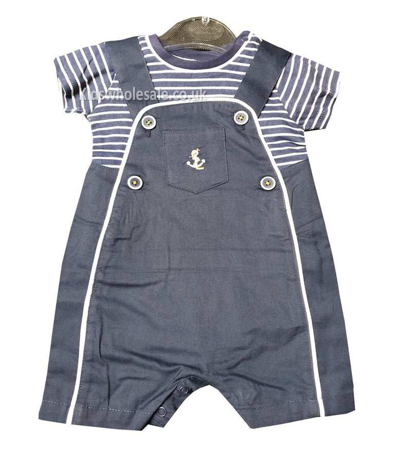 Baby Boys Dungaree & T-Shirt Set (0-9 Months) P16367 - Kidswholesale.co.uk