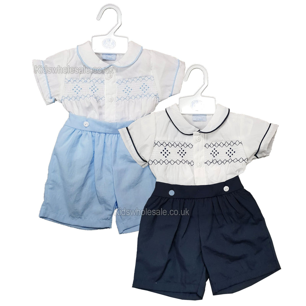 Baby Boys 2pc Set - W/Smocking & Embroidery - 0/9M - (P16497) NEW