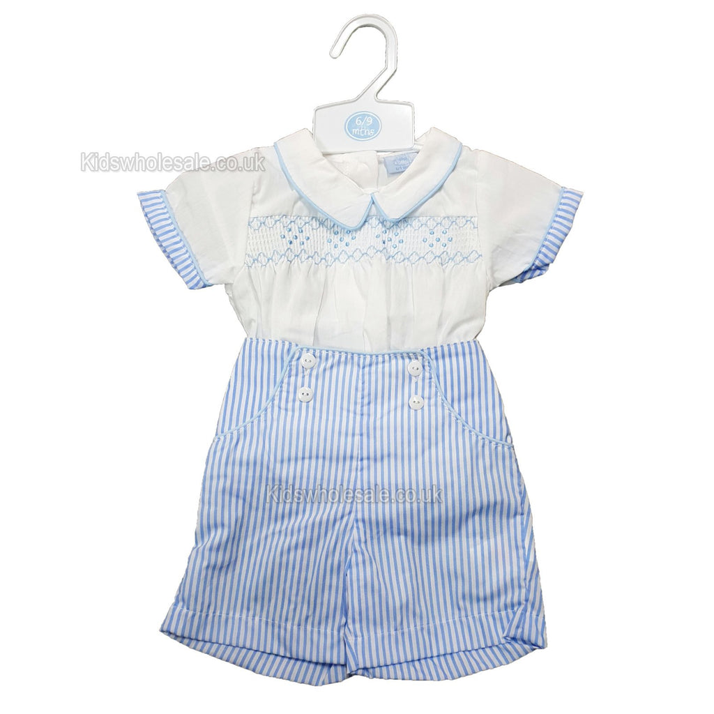 Baby Boys 2pc Set - W/Smocking & Embroidery - 0/9M - (P16499) NEW