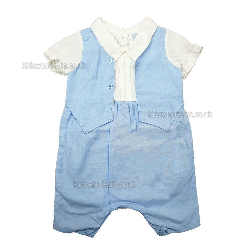 NEW Baby Boys Romper w/Waistcoat - 0/9M - (P16506) - Kidswholesale.co.uk