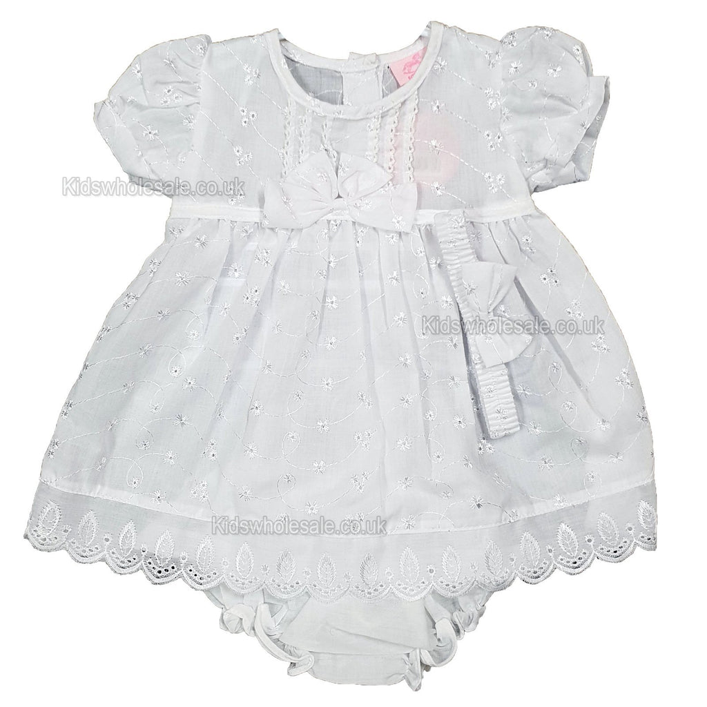 8a235b724ef1 NEW Baby Girls Broderie Anglaise Dress W Headband - White - 6-24 Months ...