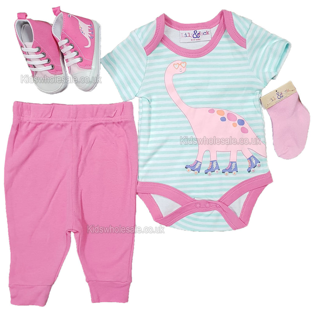 NEW Baby Girls 4pc Trourser Set W/Shoes - DINO - 0/12M - (P16710)