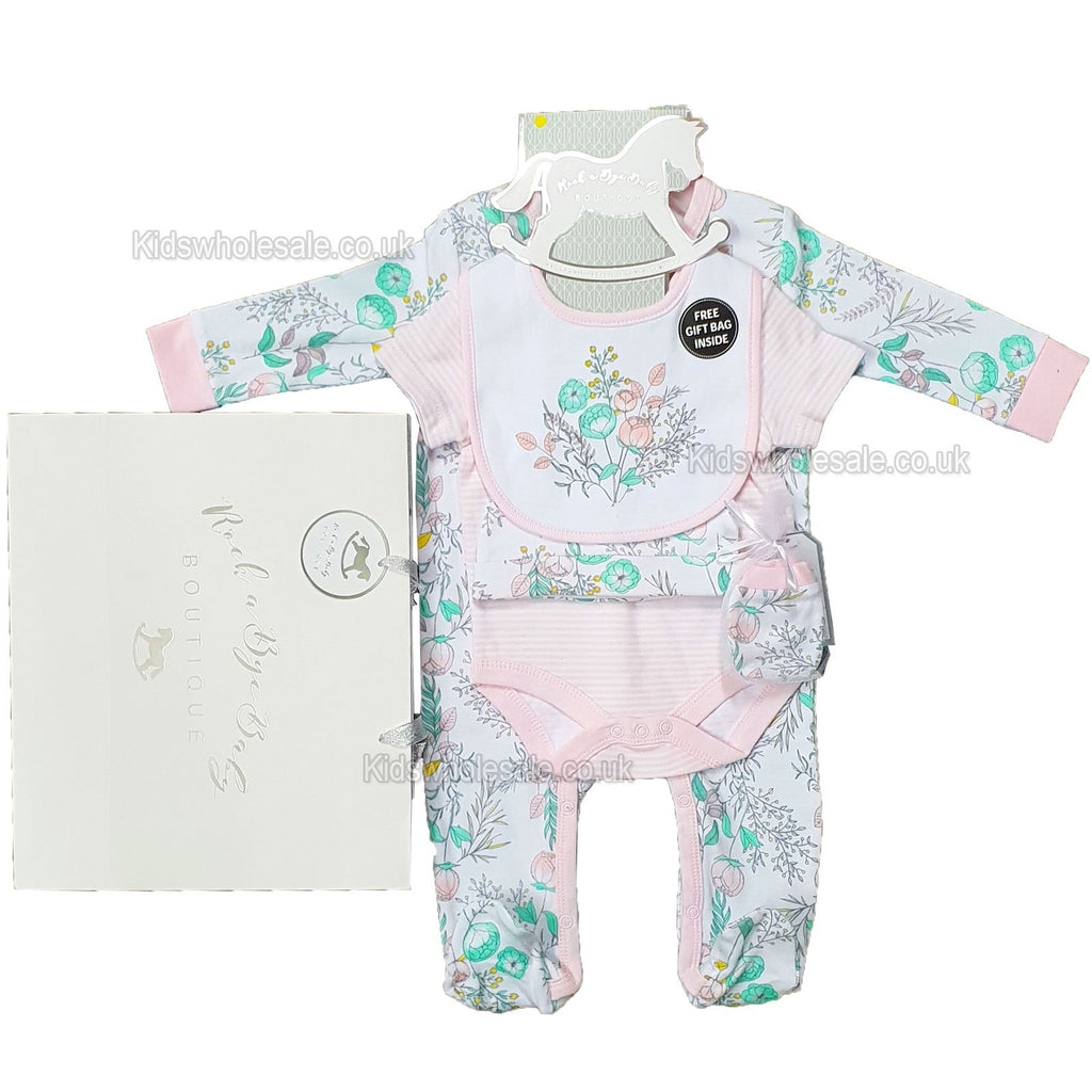 Baby Girls 6pc Net Bag Gift Set - Flowers - NB-6 Months (P16804)