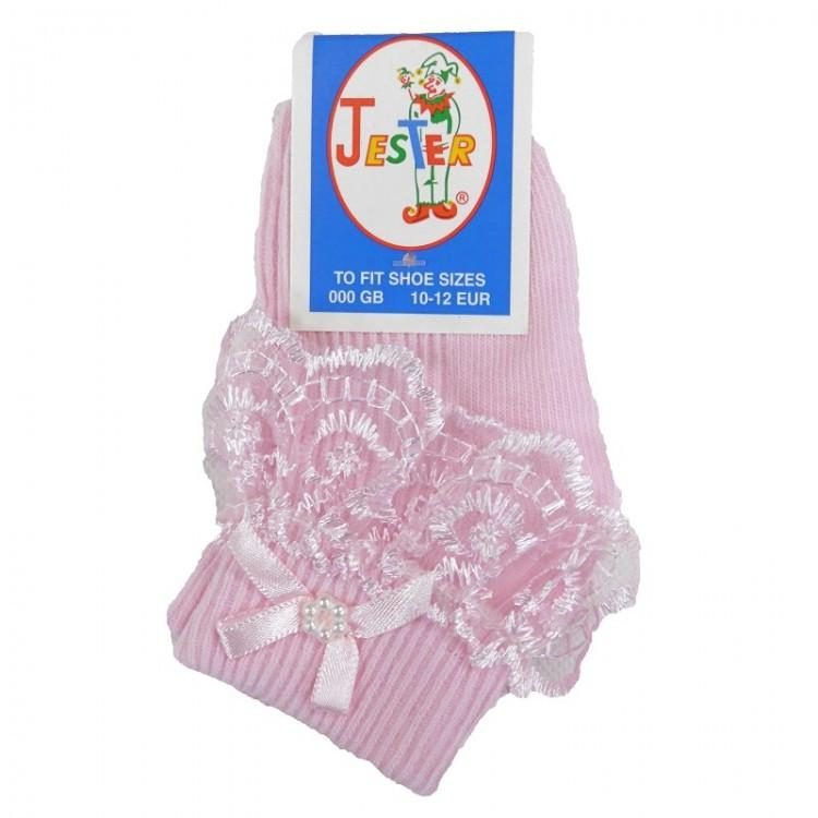 Girls Pink Jester Frilly Lace Socks