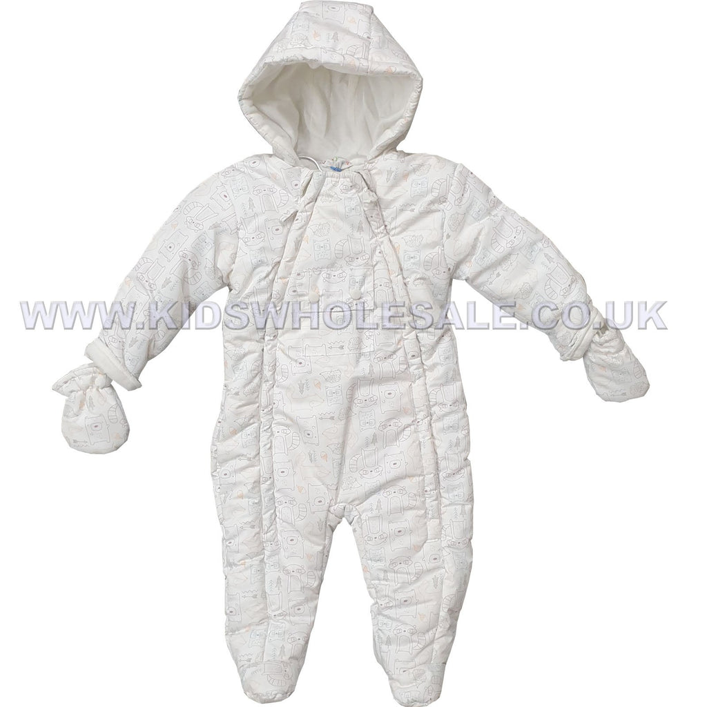 Baby Boys Padded Snowsuit - Forest Animals - 0-12M (Q17016)