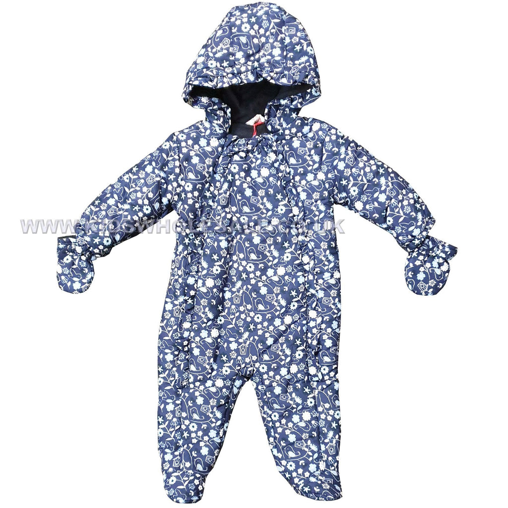 Baby Girls Padded Snowsuit - Floral Bird - 0-12M (Q17037)