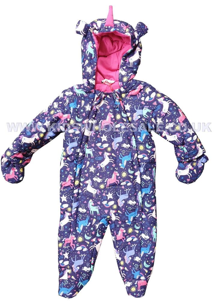 Baby Girls Padded Snowsuit - Unicorn - 0-12M (Q17045)