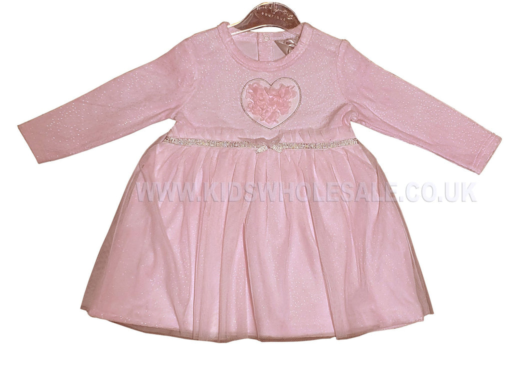 Baby Girls Tutu Dress - Pink Flowers - 0-9M (Q17077)