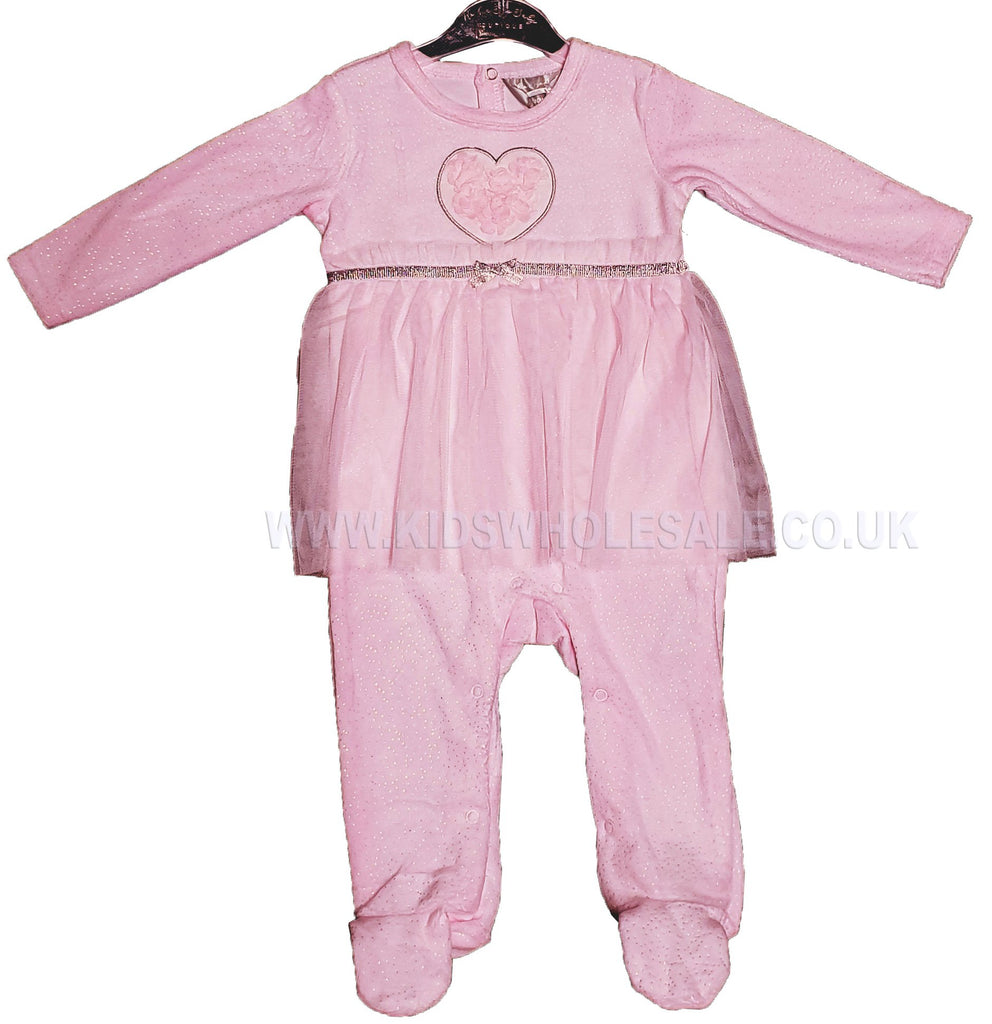 Baby Girls Tutu Sleepsuit- Pink Flowers - 0-9M (Q17078)