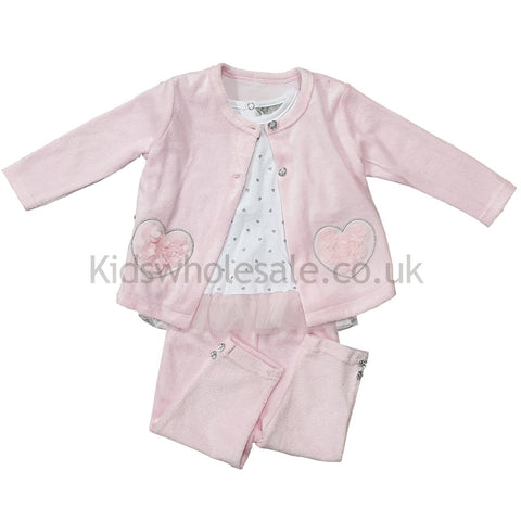 Baby Girls Knitted Cardigan - 3D Flowers - 0-12M (Q17420)