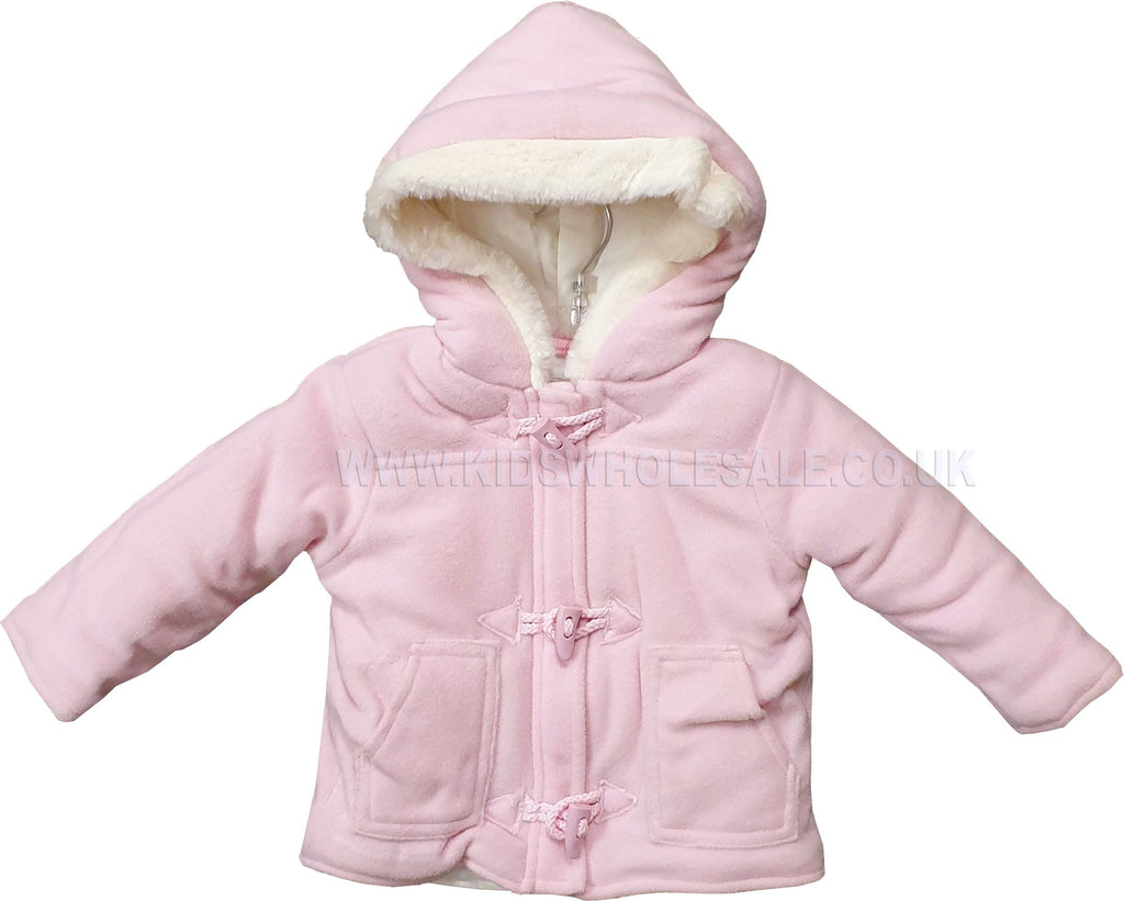 Baby Girls Duffle Coat - Soft Pink - 0-12M (Q17101)