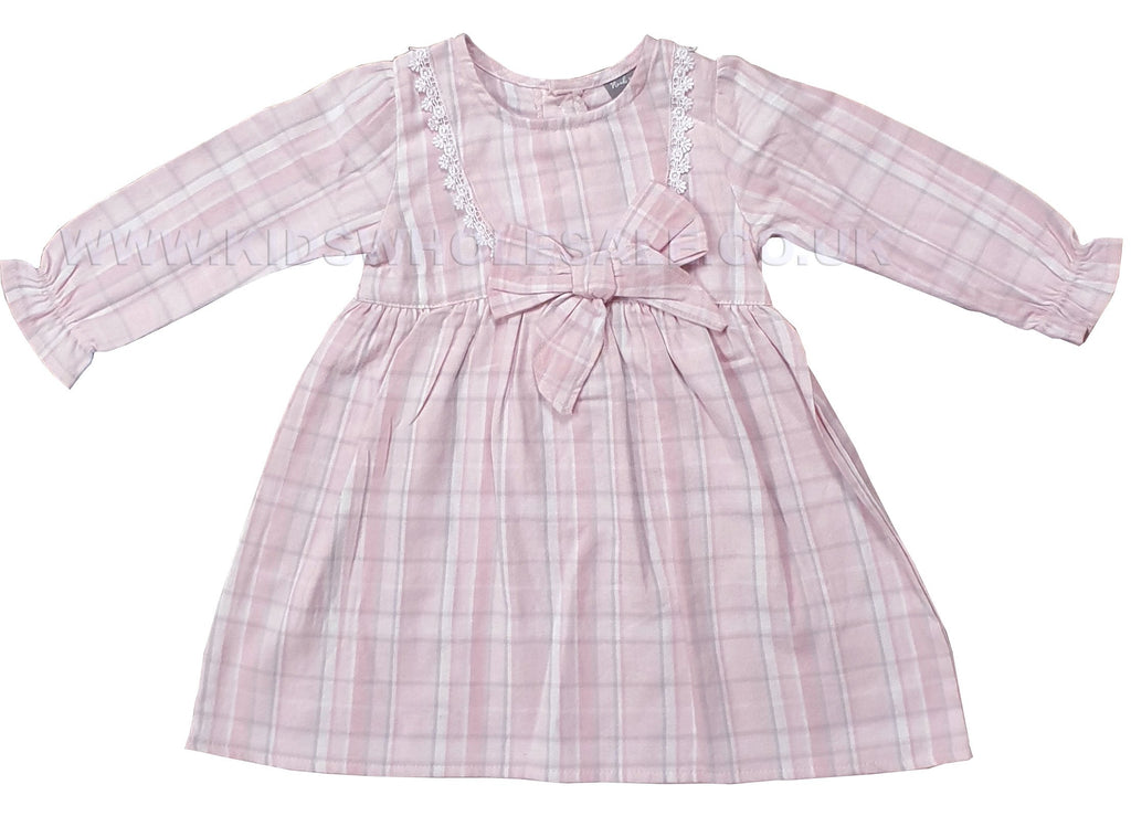 Girls Winter Tartan Dress  W/Lace - Pink Check - 0-12M (Q17388)