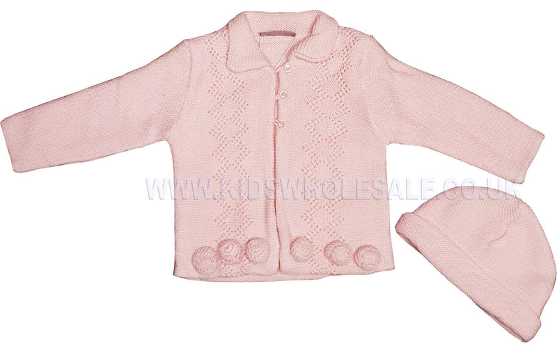 Baby Girls Knitted Cardigan - 3D Flowers - 0-12M (Q17420) - Kidswholesale.co.uk