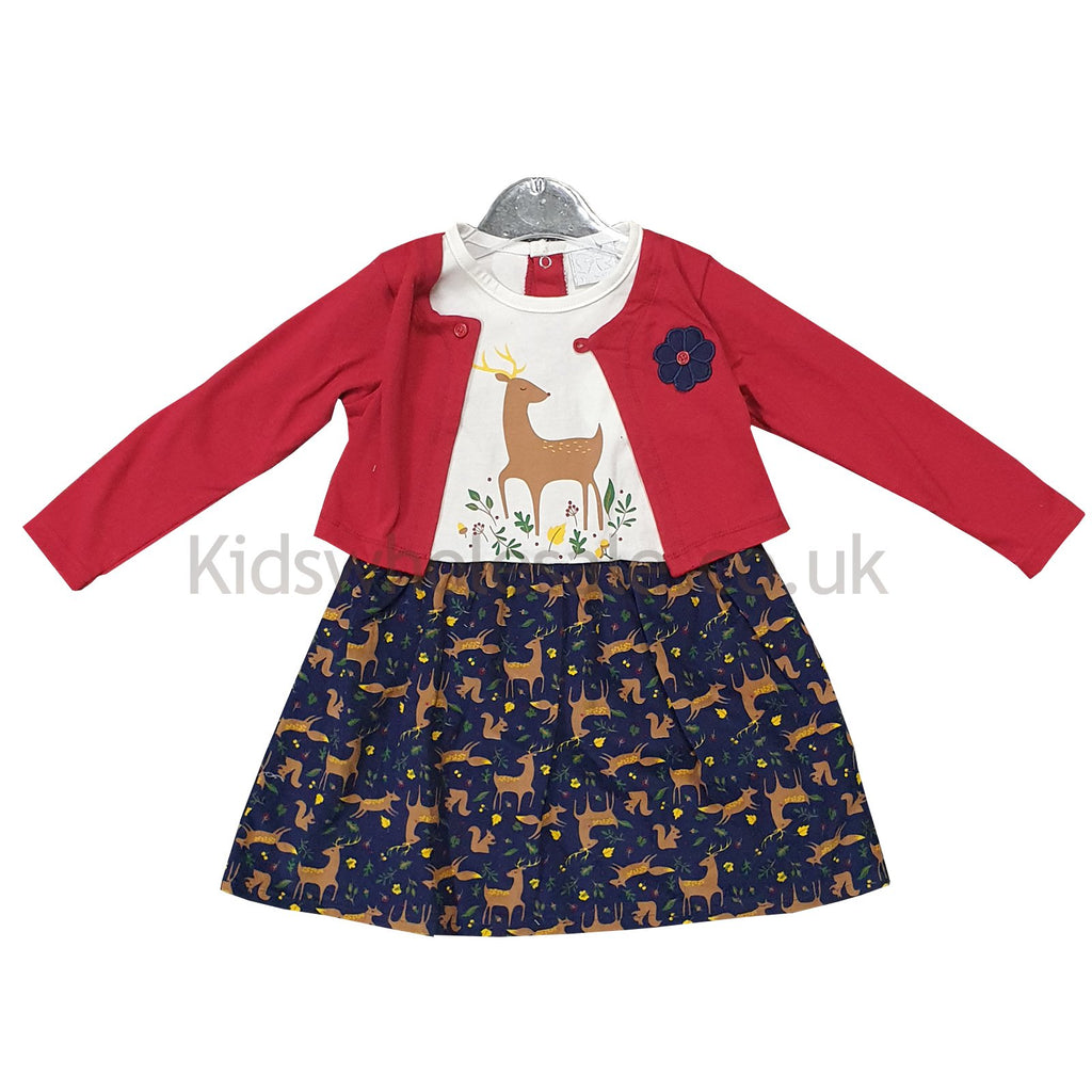 Baby Girls Mock Dress - Deer - 6-24M (Q17592)