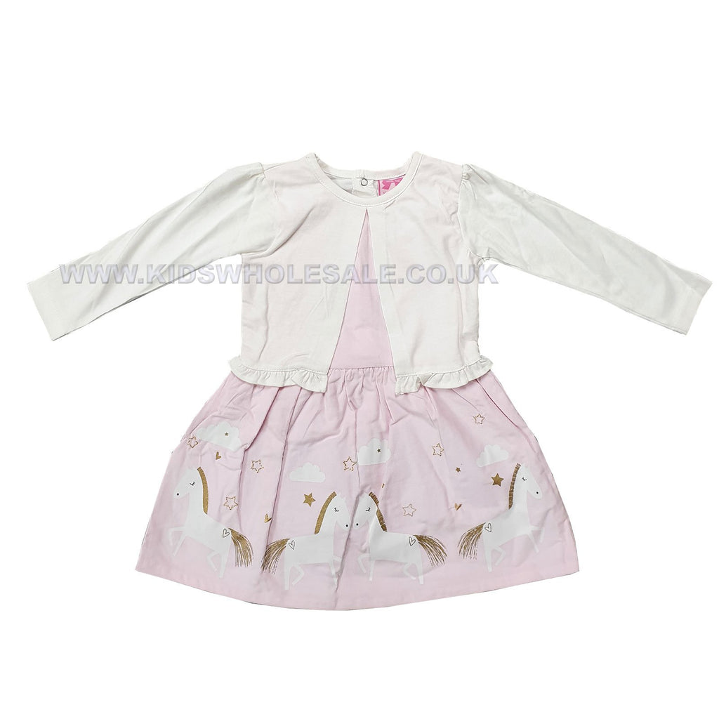Baby Girls Cardigan Cord Mock Dress - Unicorn - 3-24M (Q17699)