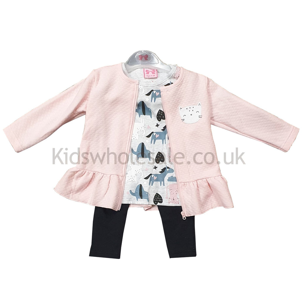 Baby Girls 3pc Quilted Jacket, Top & Legging Set - Cats/Horses - 3-24M (Q17788)