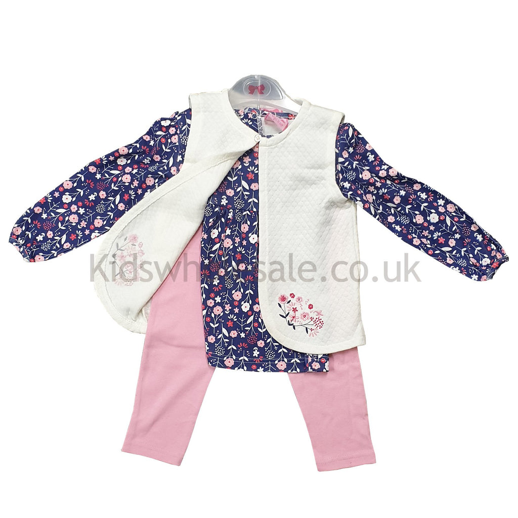 Baby Girls 3pc Quilted Gilet, Top & Legging Set - Pink Floral - 3-24M (Q17793)