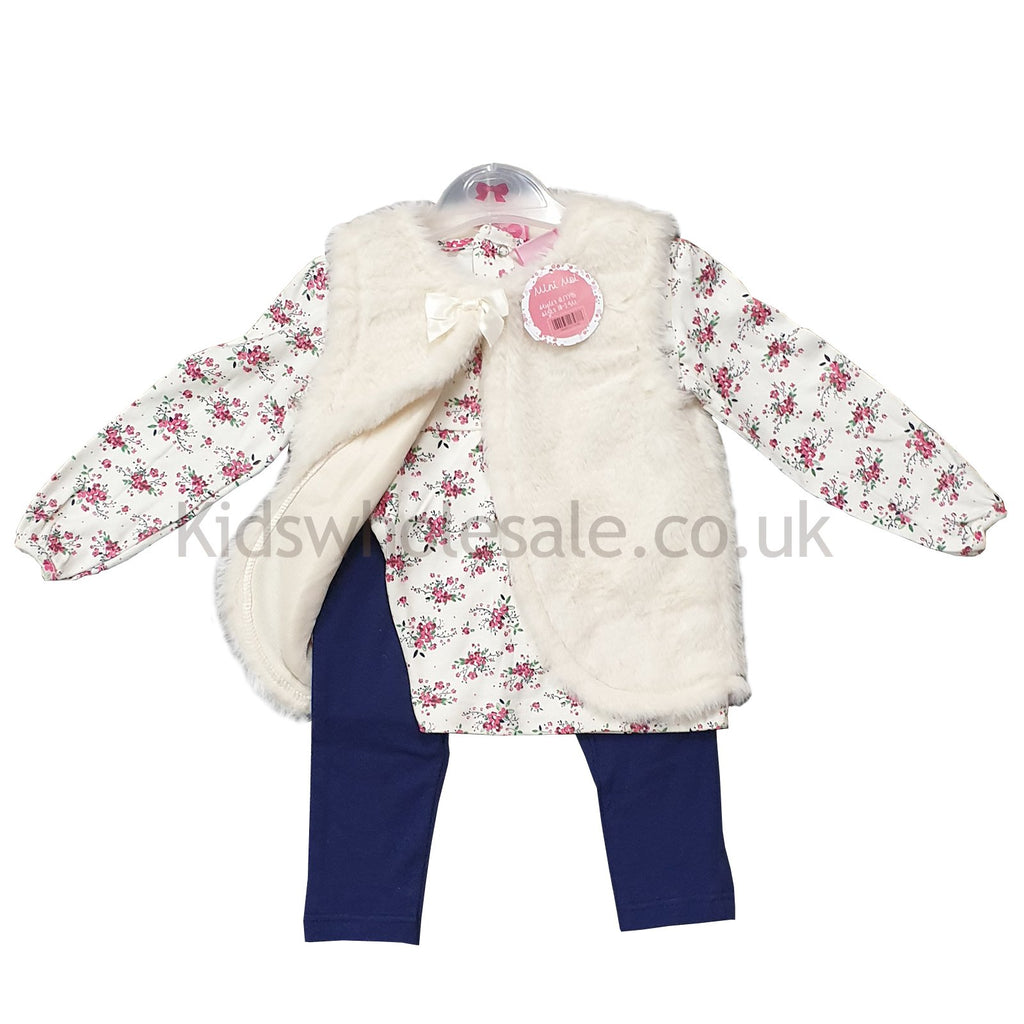 Baby Girls 3pc Fur Gilet, Top & Legging Set - Flowers - 3-24M (Q17795)