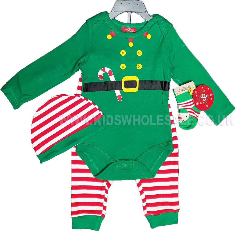 Baby Boys 4 Pcs Gift Set - Christmas Elf - 0-12M (Q17857)