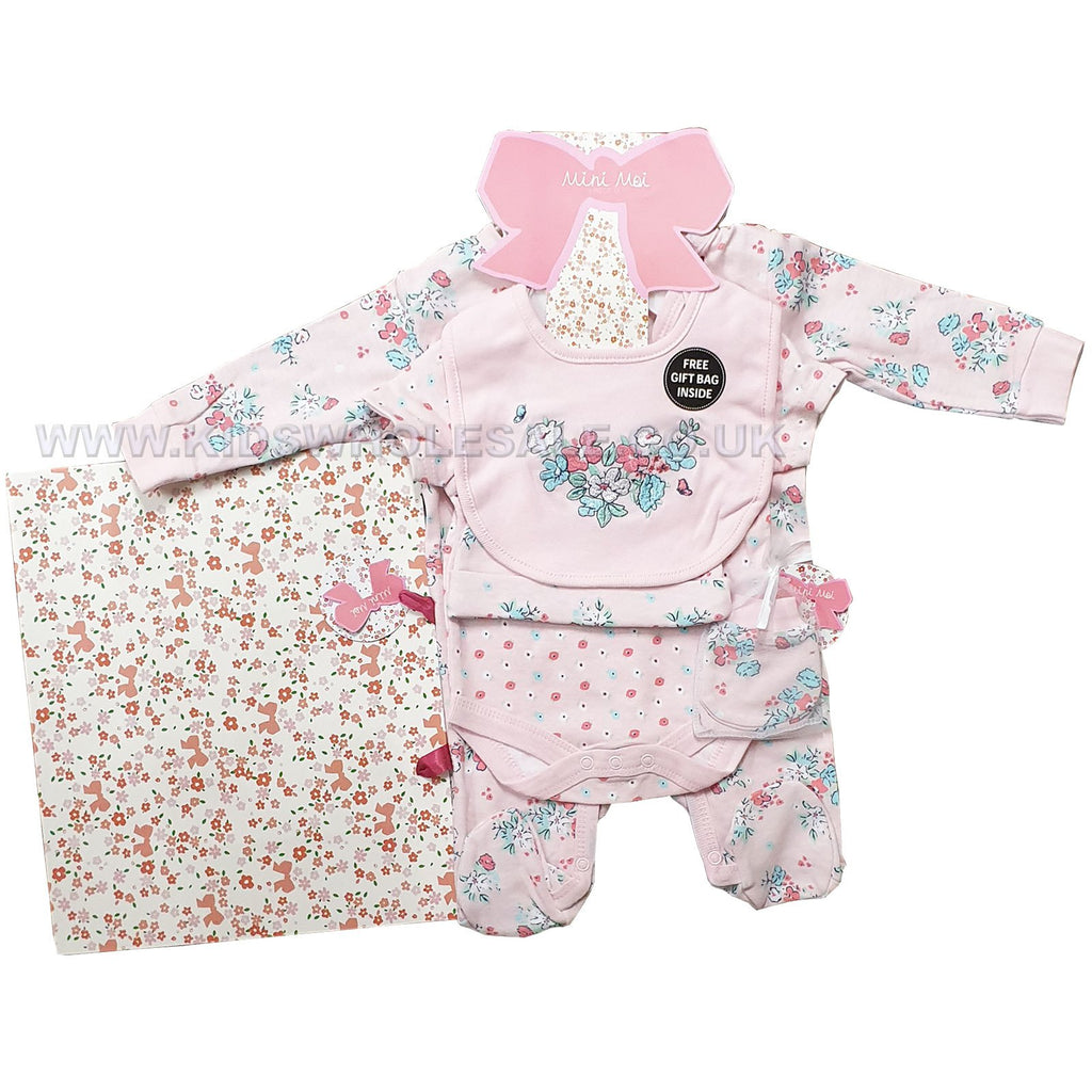 5 Piece Baby Girls Clothing Outfit Layette Gift Set Happy Kitties Design K12425