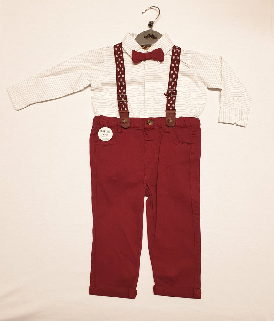 BABY BOYS BODYSUIT SHIRT WITH BOW TIE & CHINO PANT WITH BRACES OUTFIT (0-18 MONTHS) R18425