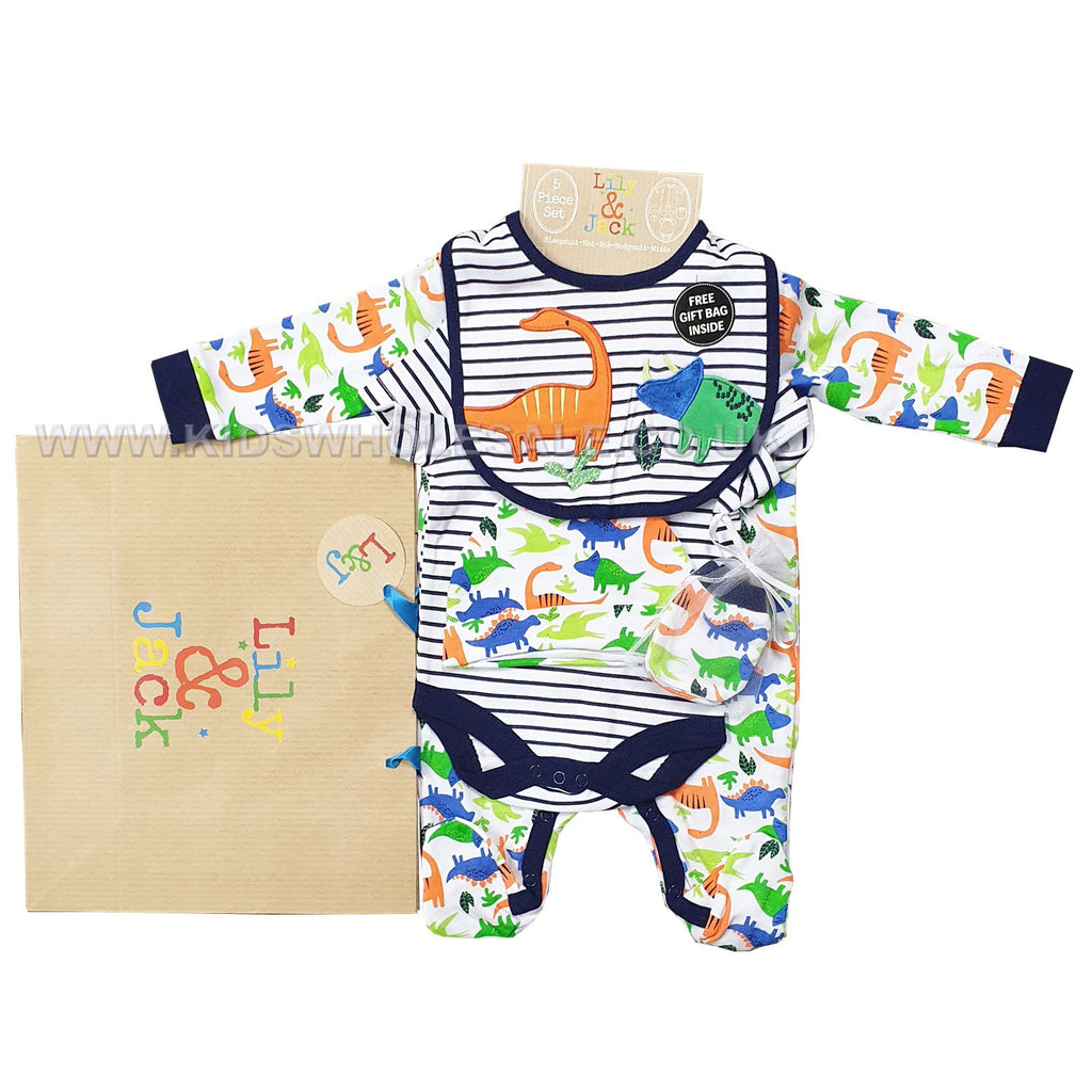 Baby Boys 6 Pcs Gift Set - Dinosaur - NB-6M (R18479)