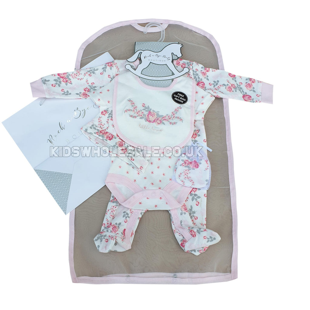 BABY GIRLS FLORAL 6 PIECE NET BAG GIFT SET (NB-6 MONTHS) R18480