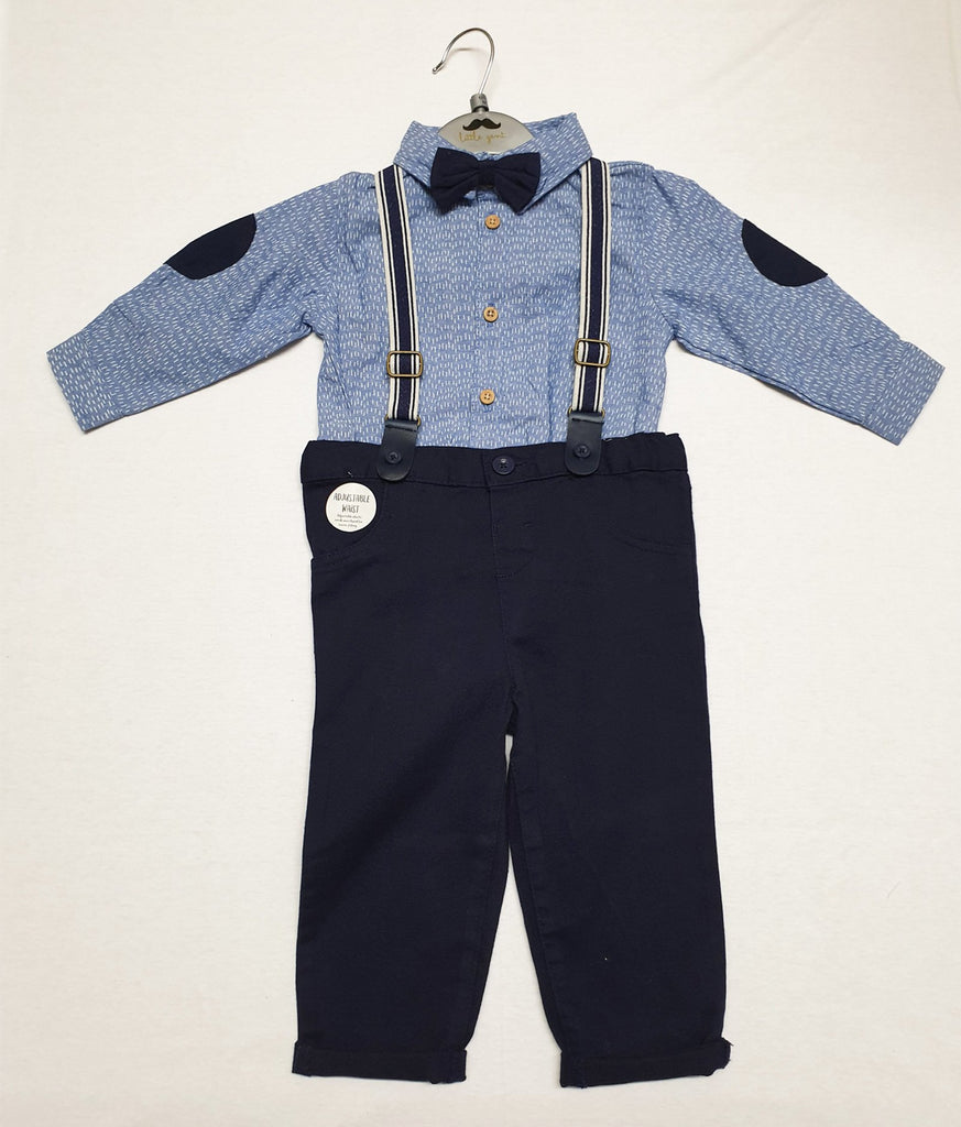 BABY BOYS 4PC BODYSUIT SHIRT WITH BOW TIE & CHINO PANT WITH BRACES OUTFIT (0-18 MONTHS) R18545