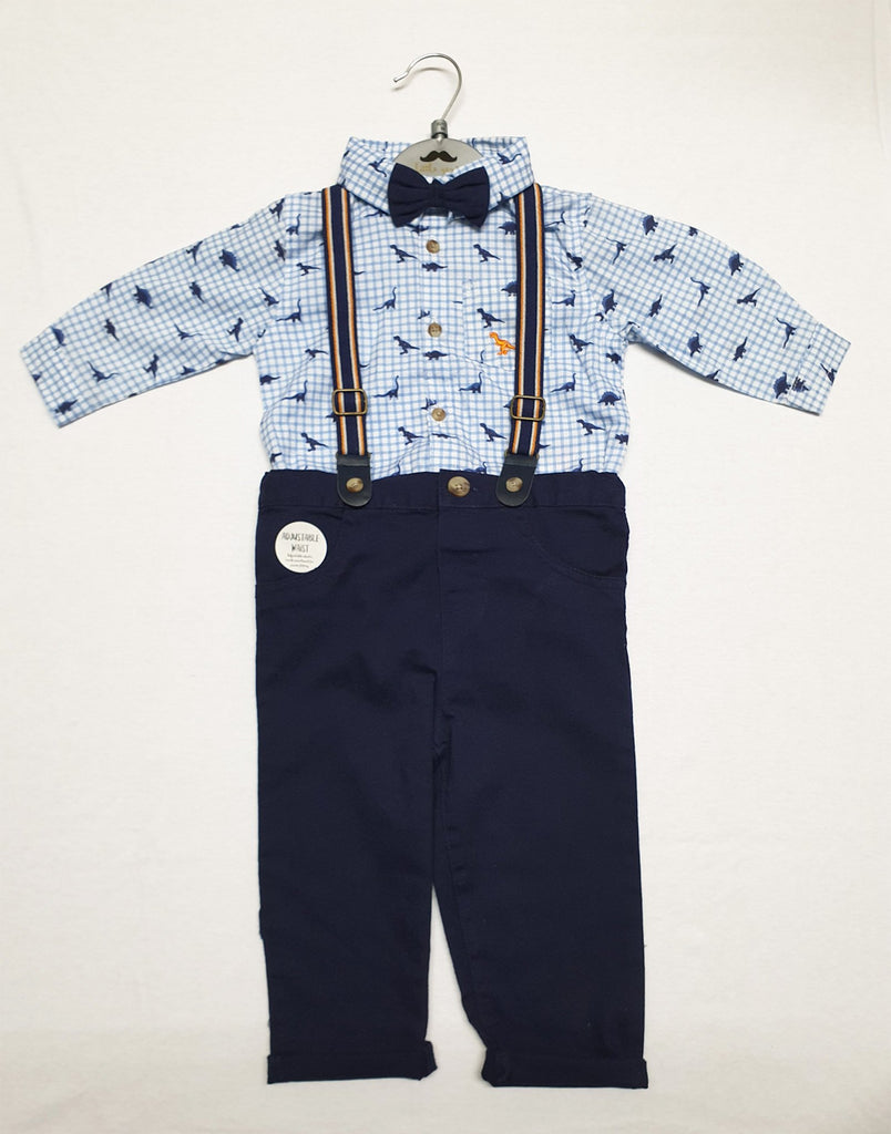 BABY BOYS BODYSUIT SHIRT WITH BOW TIE & CHINO PANT WITH BRACES OUTFIT (0-18 MONTHS) R18548