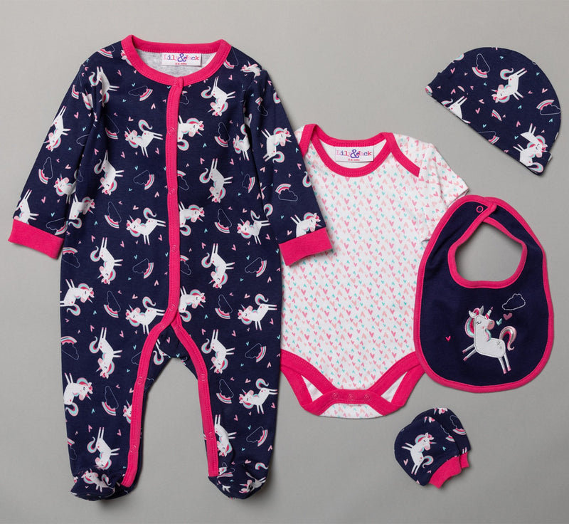 BABY GIRLS UNICORN 6 PIECE NET BAG GIFT SET (NB-6 MONTHS) R18721 - Kidswholesale.co.uk