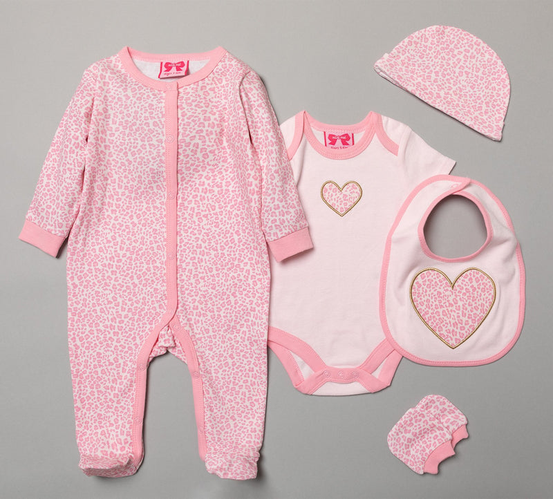 BABY GIRLS HEART 6 PIECE NET BAG GIFT SET (NB-6 MONTHS) R18723 - Kidswholesale.co.uk