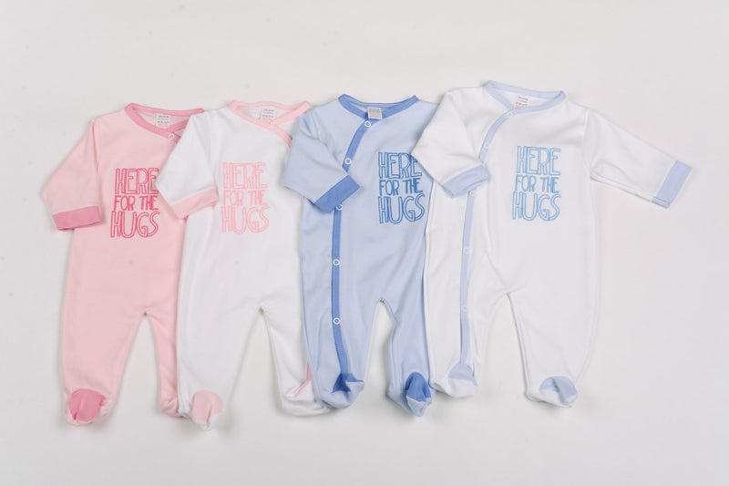 Cotton All-in-one Sleepsuit - Here For The Hugs - 0-9 Months (G1394) - Kidswholesale.co.uk