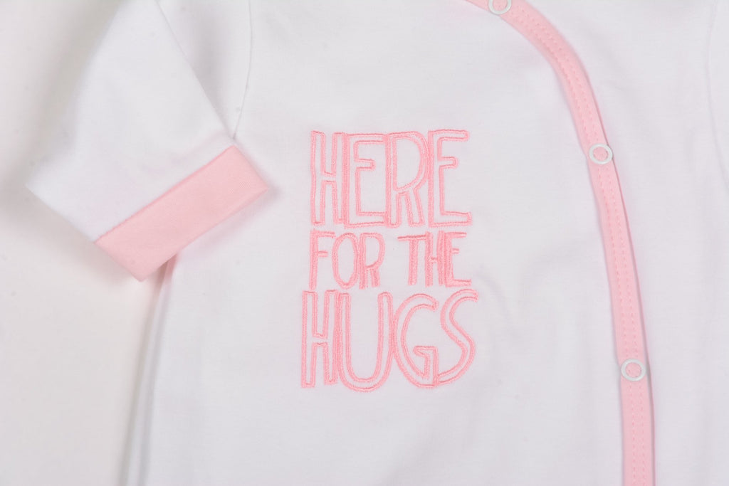 Cotton All-in-one Sleepsuit - Here For The Hugs - 0-9 Months (G1394)