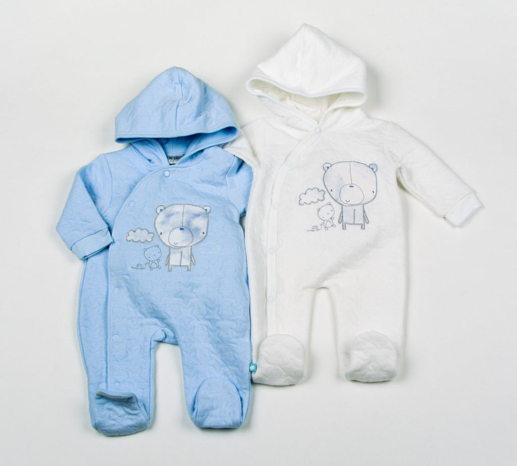 Baby Boys Cotton Rich Quilted Jacquard All in One Hooded Set - Teddy - NB-6 (H1953)