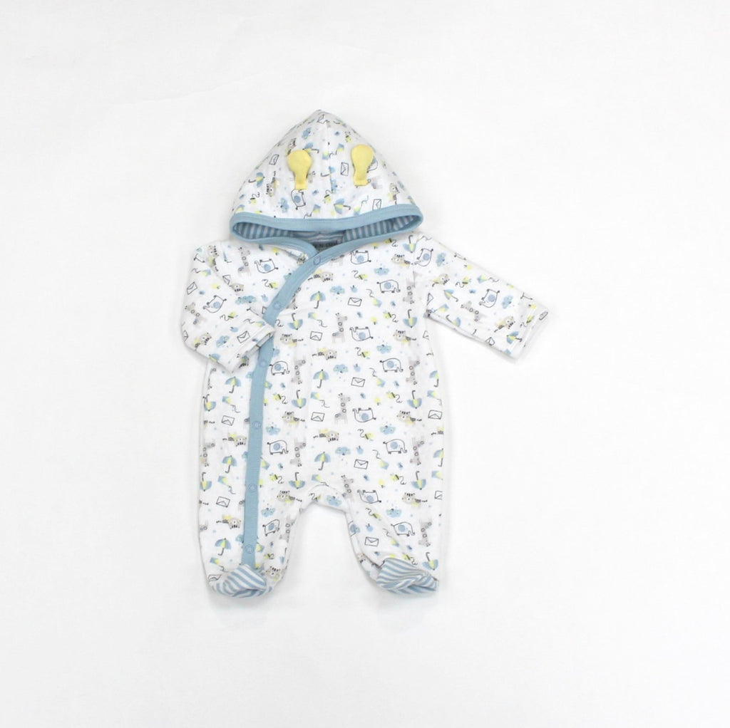 Baby Boys Quilted Hooded All in One - Safari - 0-9M (L1070)