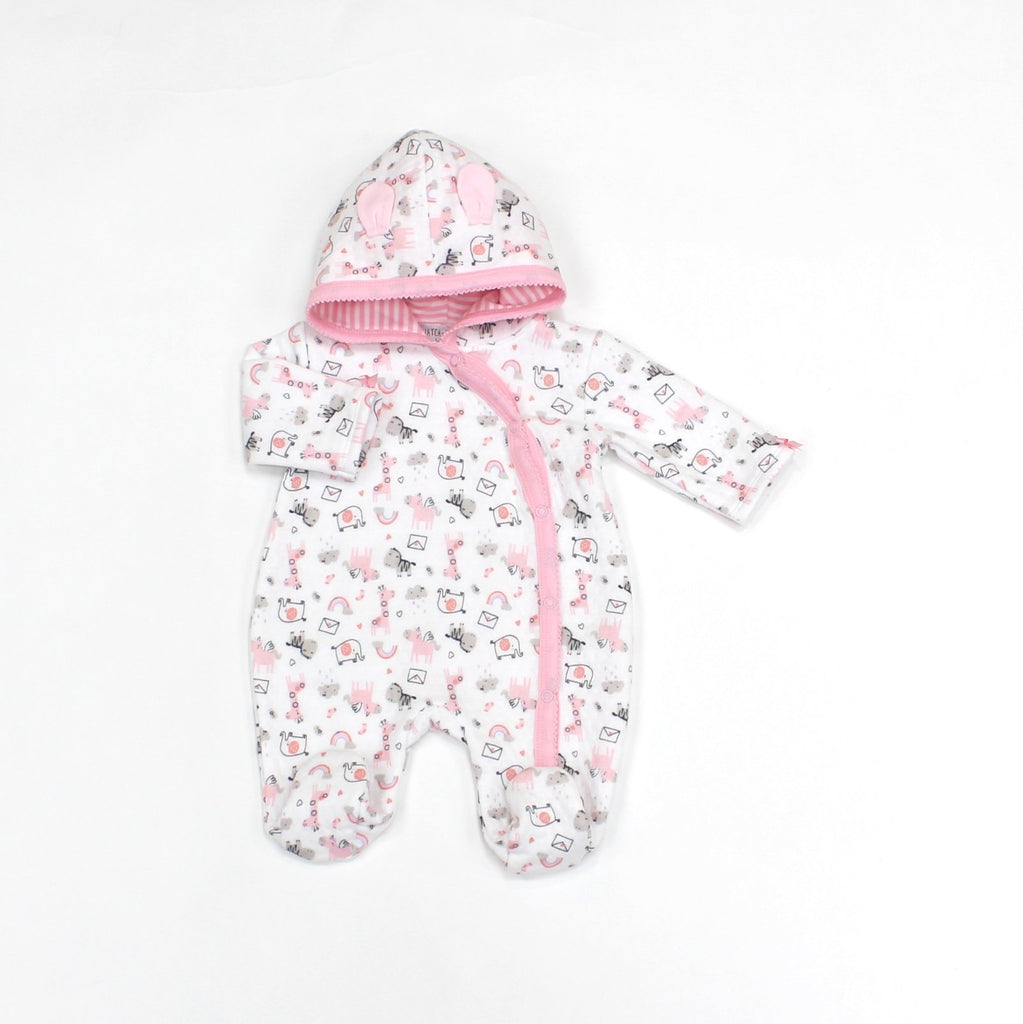 Baby Girls Quilted Hooded All in One - Safari - 0-9M (L1074)
