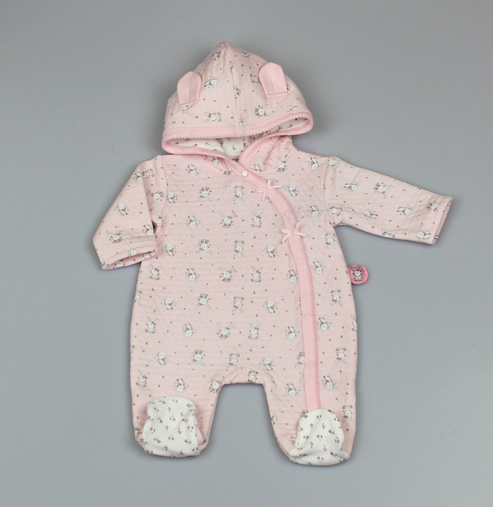 Girls Hooded All in One -Quilted - Bunny (0-9Months) M1405
