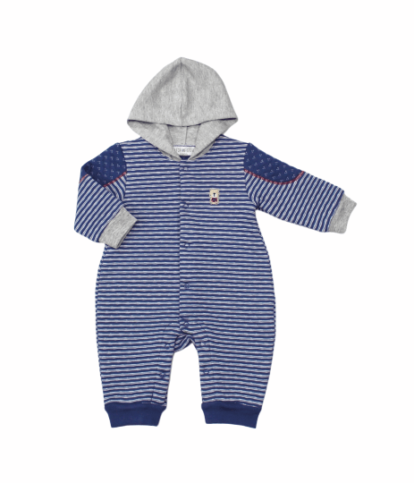 Baby Boys Quilted Hooded All in One - Teddy - 3-12M (L2085)