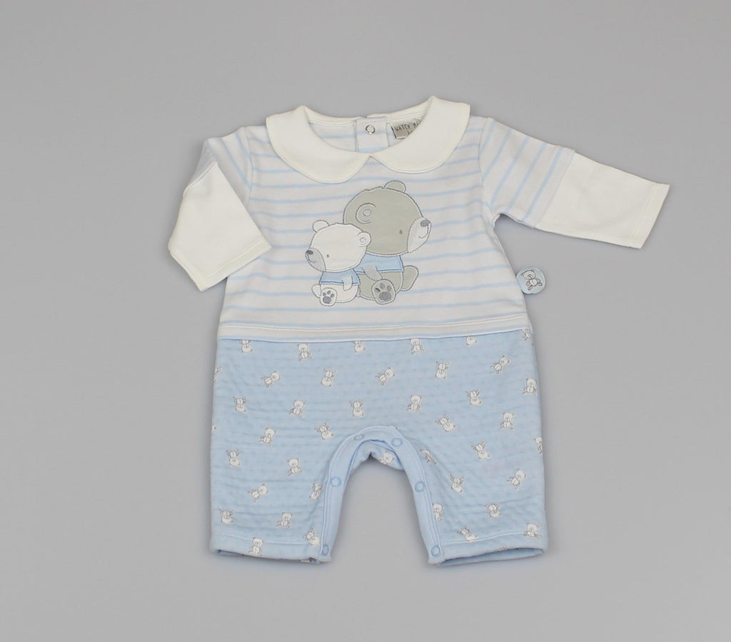 Quilted Fleece Romper - Stripes/Teddy (0-9Months) M1401