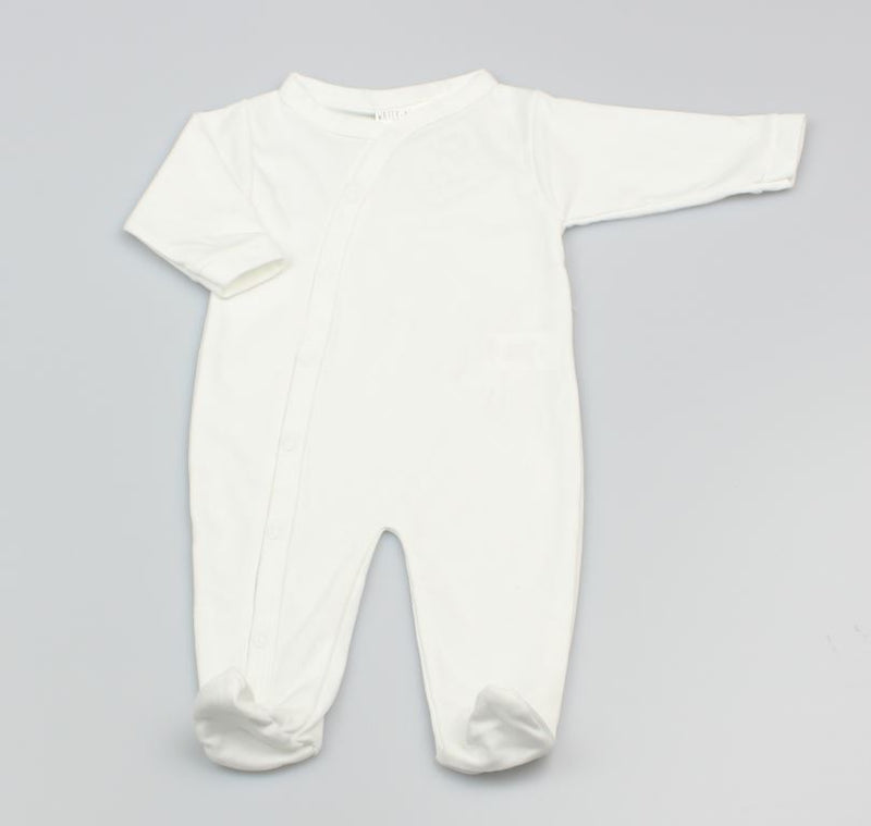 WHITE BABY UNISEX PLAIN SLEEP SUIT (0-9 MONTHS) M1532