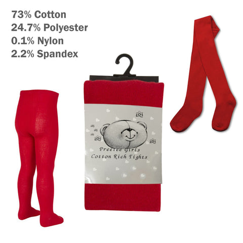/'Tick Tock/' Baby Girls Red With Heart Designed Tights.