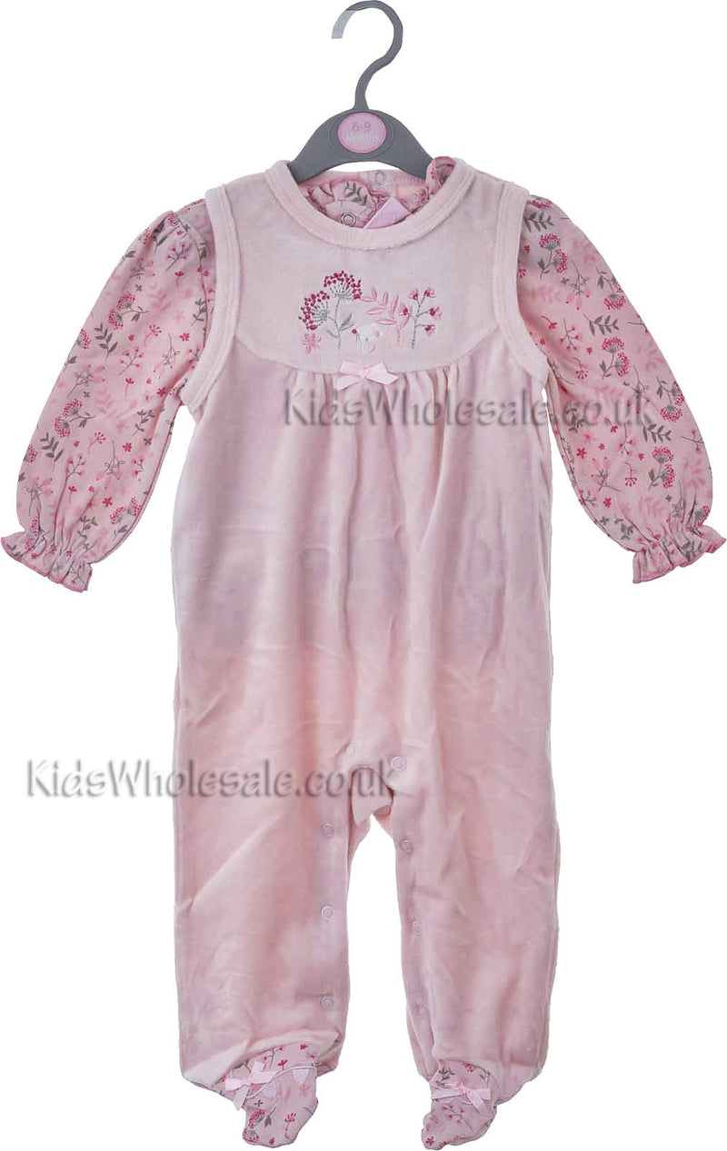 Baby Girls Velour Dungaree & Floral Top Set (0-9 Months)(j10046) - Kidswholesale.co.uk