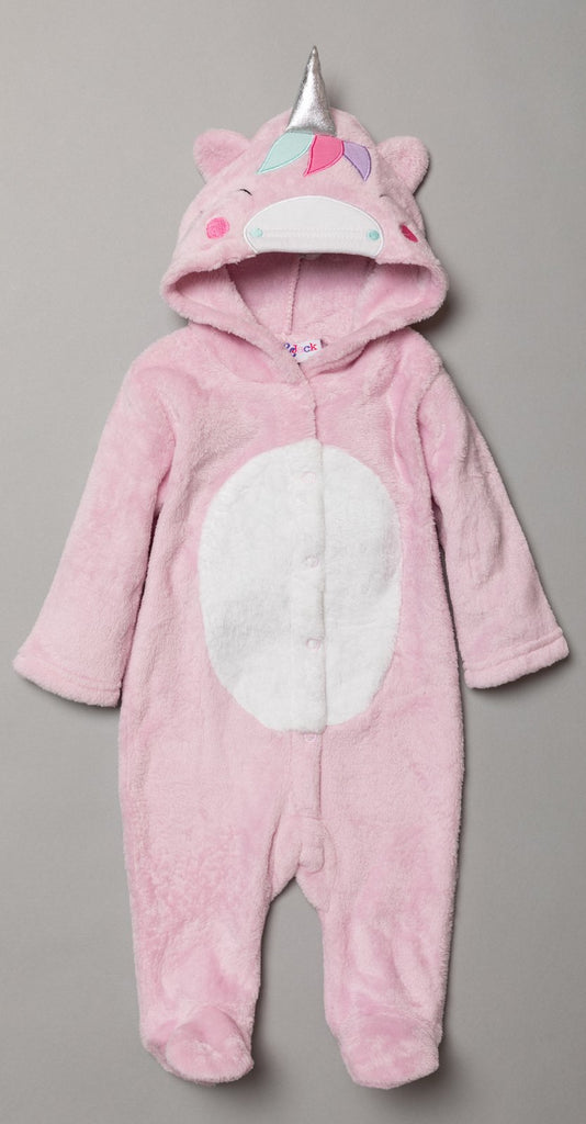 Girls Hooded Fleece Sleepsuit - Unicorn (0-12Months) S18955