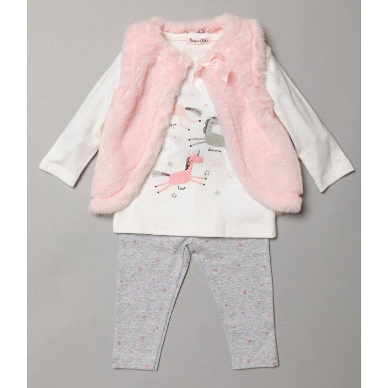 Girls 3 pc Legging, Fur Gilet, Top Outfit - Unicorn (3-24m) S19008 - Kidswholesale.co.uk